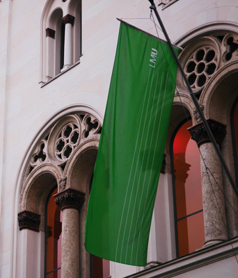 LMU Munich flag at main university building